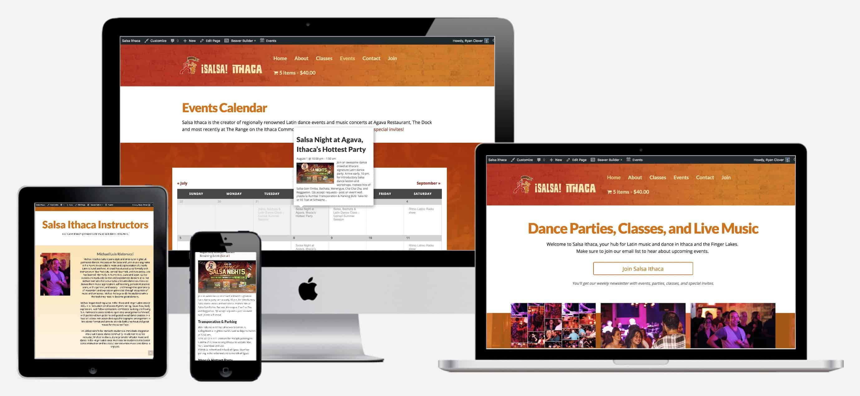 Salsa Ithaca uses Maple to keep their website up to date with local events and ticket sales.