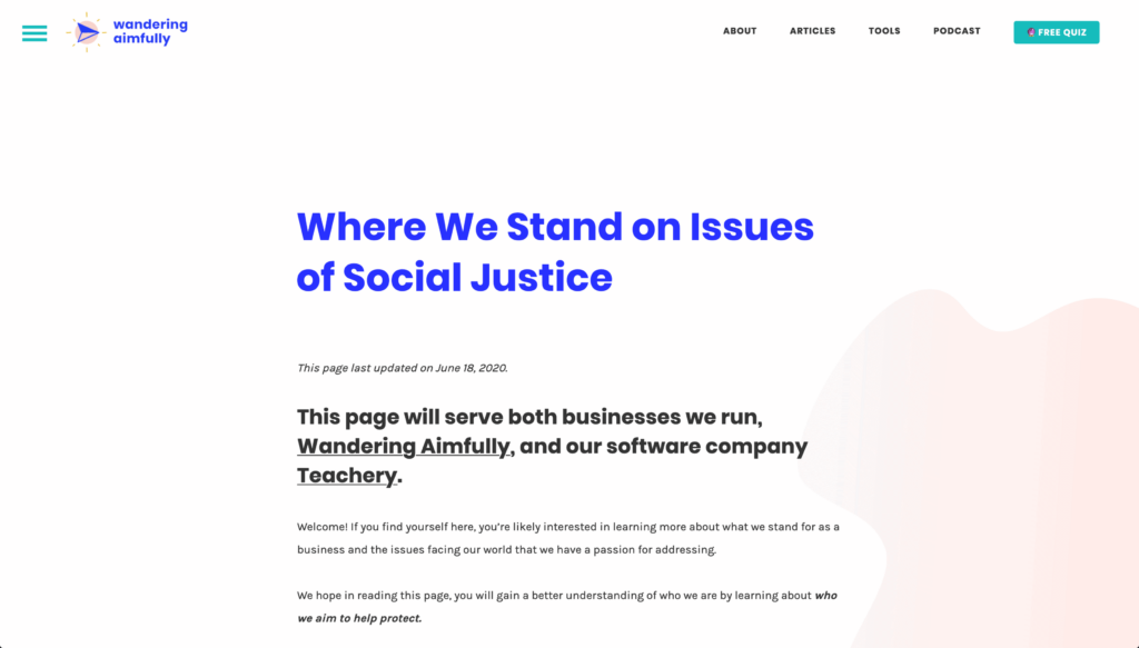 Screenshot from wanderingaimfully.com social justice stance page